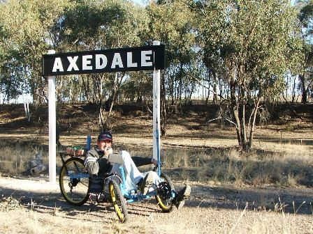 The author at the Axedale Railway Station site on the O'Keefe Rail Trail, 2013